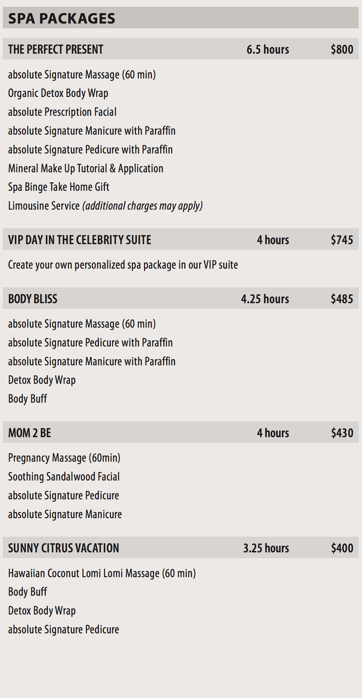 Spa Packages Absolute Spa Group