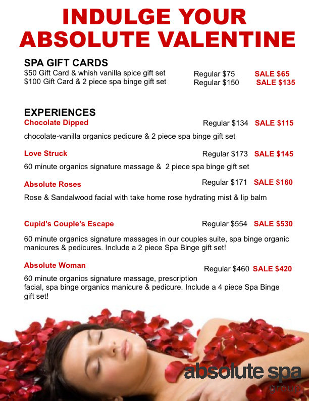 Valentine S 2013 Specials Absolute Spa Group