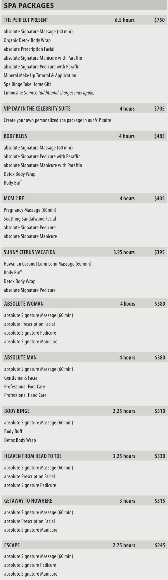 absolute spa packages 2014
